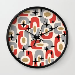 Mid Century Modern Cosmic Abstract 129 Red Gray Gold Black and Beige Wall Clock