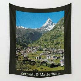 Retro Swiss travel Zermatt and Mount Matterhorn  Wall Tapestry