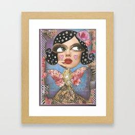 Blue whimsical woman Framed Art Print