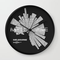 melbourne Wall Clocks featuring Melbourne Map by Shirt Urbanization