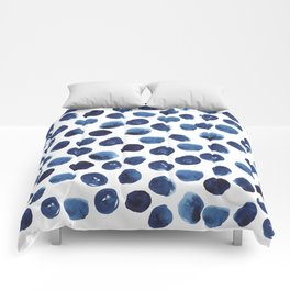 India - blue paint, ink spots, design, watercolor brush, dots, cell phone case Comforters