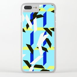 trapezoids grid pattern_skyblue Clear iPhone Case