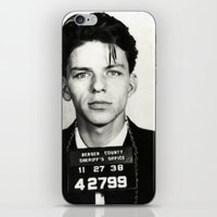 frank sinatra iPhone & iPod Skins featuring Frank Sinatra Mug Shot  by All Surfaces Design