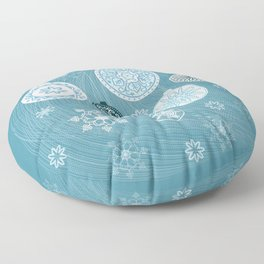 christmas balls with snowflakes on the blue Floor Pillow