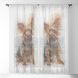 Yorkshire Terrier Art Sheer Curtain