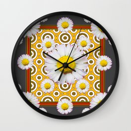 Charcoal Grey White Shasta  Daisy Patterns Brown Art Wall Clock