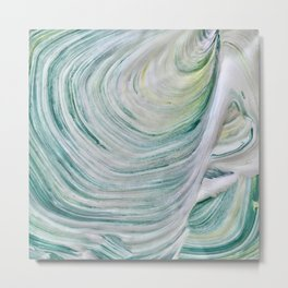 Abstract green, blue, and yellow painting Metal Print