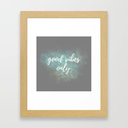 Good Vibes - Blue Yellow Framed Art Print