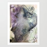woman with critters Art Print