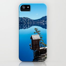 Outhouse on the Cliff // Crater Lake National Park Crystal Clear Blue Waters and Sky iPhone Case