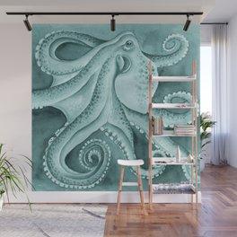 Cyan Green Octopus Tentacles Ink Watercolor Wall Mural