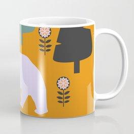 Bear walking between flowers and pine trees Coffee Mug