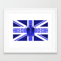 british flag Framed Art Prints featuring Royal Blue - British Flag & Crown by Ornaart