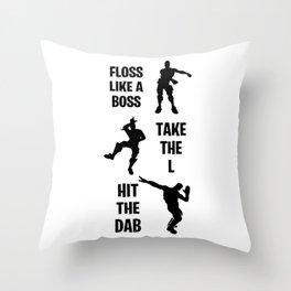Floss, Dab, Take the L Dance Emotes Throw Pillow