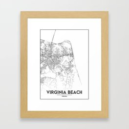 Minimal City Maps - Map Of Virginia Beach, Virginia, United States Framed Art Print