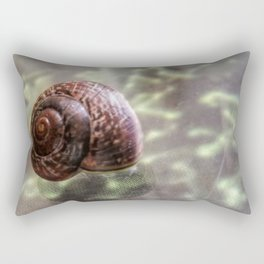Snail on hard-to-eat lettuce - On glass-covered ad of vegetables Rectangular Pillow
