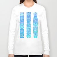 tiki Long Sleeve T-shirts featuring Tiki Totems – Turquoise Palette by Cat Coquillette