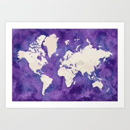 Purple watercolor and light brown world map with outilined countries Kunstdrucke