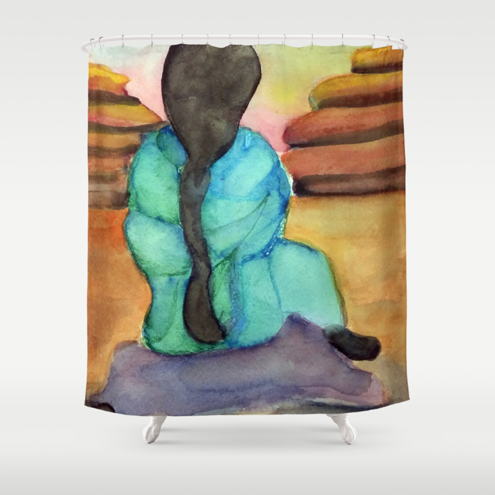 Woman Sitting On Rock Shower Curtain by Desertsart CTN8442675