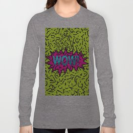 Neon Retro 80's 90's Scribbled Wow! Typography Long Sleeve T-shirt