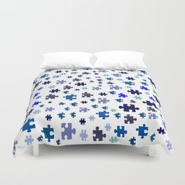 Jigsaw pieces of bluish colors. Duvet Cover