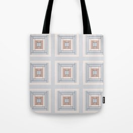 Modern Life (Large) Pattern Blue Grey Rust Tote Bag