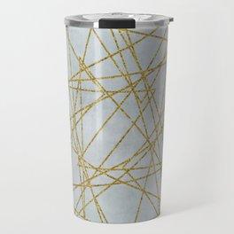 Golden Faux Glitter Lines On Teal Grey Travel Mug