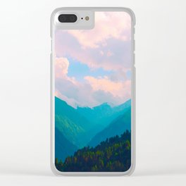 Pastel Mountain Range Valley Pink Blue Green Turquoise Clear iPhone Case