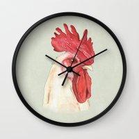cock Wall Clocks featuring Cock by Marta Bocos