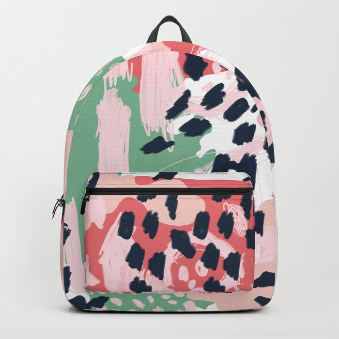 Leia - abstract painting cute minimal navy coral mint pastels painterly boho chic decor Backpack