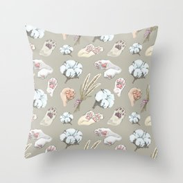 cat toe beans and cotton flowers Throw Pillow