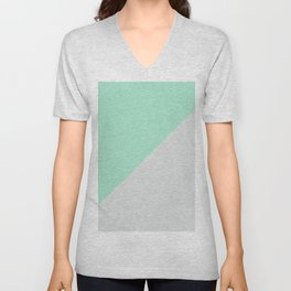 Turquoise gray abstract modern color block Unisex V-Neck