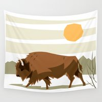 bison Wall Tapestries featuring Bison by Emre Özbay