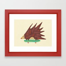 Hedgehog in hair raising speed Framed Art Print