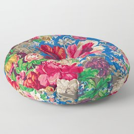 California Watercolor - Colorful Vintage Poppies Floor Pillow