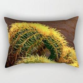 Golden Ball Cactus in Early Morning Light Rectangular Pillow