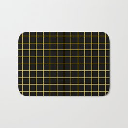 Grid Pattern - yellow and black - more colors Bath Mat