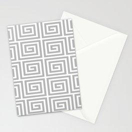 Greek Key Pattern 126 Gray Stationery Cards
