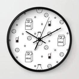 Doodle milk star cookies pattern Wall Clock