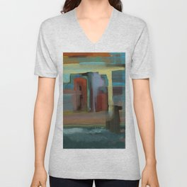 Abstract City, Southwestern Colors Unisex V-Neck