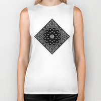 tupac Biker Tanks featuring black and white bandana by Marta Olga Klara