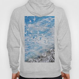 Birds Above the Mountains Watercolor (Color) Hoody