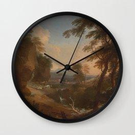 Adriaen van Diest - Landscape with Distant Mountains (1698) Wall Clock