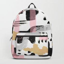 Mosaic Abstract Pink, Black Backpack