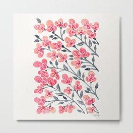 Cherry Blossoms – Pink & Black Palette Metal Print