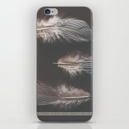 feathers appear when angels are near iPhone Skin