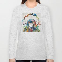 Native American Art - Chief - By Sharon Cummings Long Sleeve T-shirt