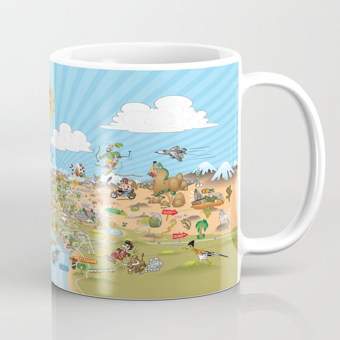 Cartoon Map of Southern California Coffee Mug