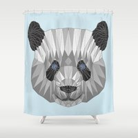 panda Shower Curtains featuring panda by Nir P