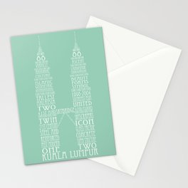 'Wordy Structures' Petronas Towers (blue) Stationery Cards